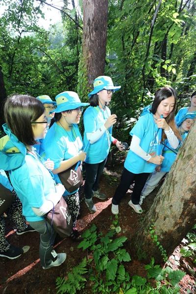 유한킴벌리 2016 여고생 그린캠프_나무의 수령을 측정하고 있는 여고생들의 모습.jpg