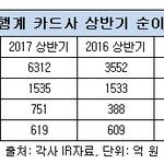 은행계 카드사 상반기 성적표 신한‧하나 '순이익 급증', 국민‧우리 '선방'